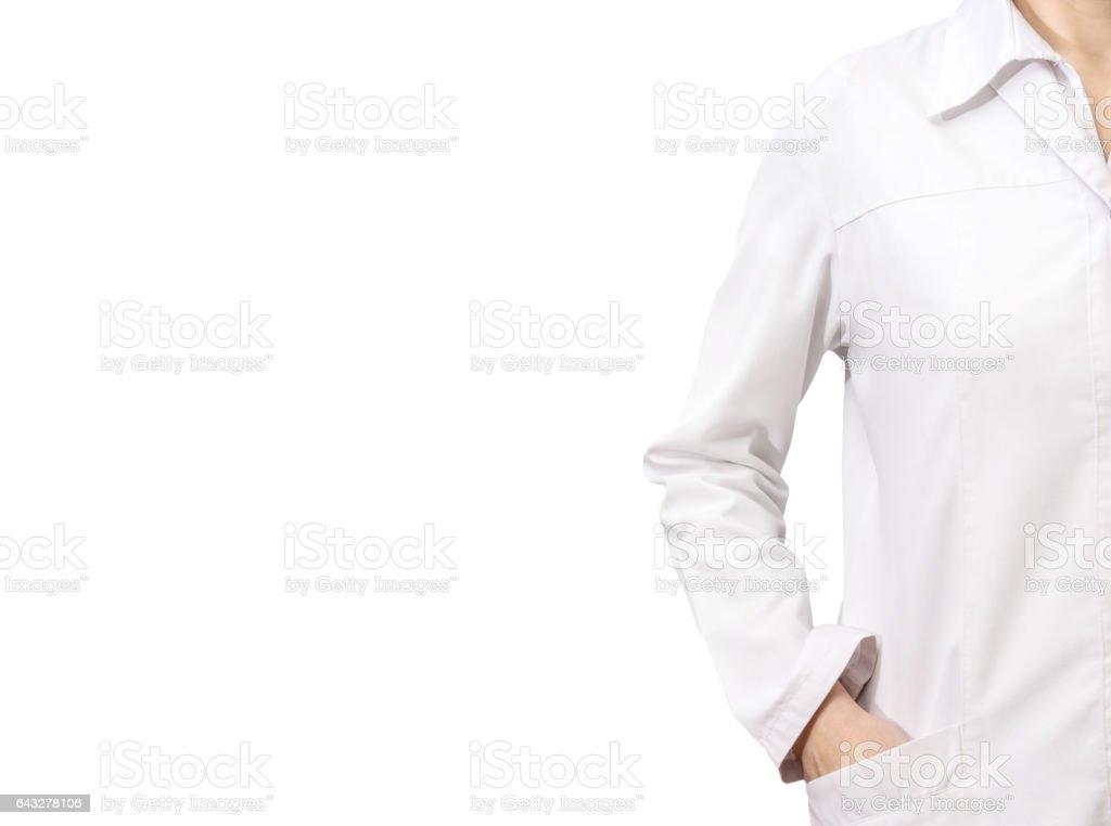 Doctora en túnica blanca de médico aislado en blanco. - foto de stock