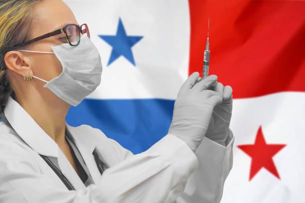 Ärztin. Influenza aus Coronavirus, Prävention von Pandemie-Virus-Infektion. Virus in Panama. – Foto