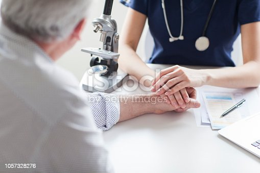 istock Female doctor is holding a hand of sad patient. 1057328276