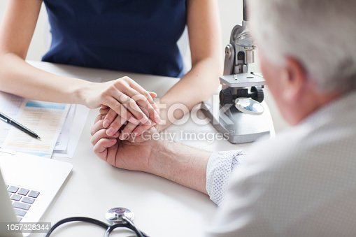 istock Female doctor is holding a hand of sad patient. 1057328344