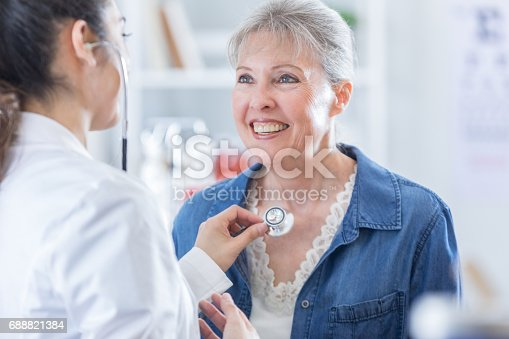 istock Female doctor listens to senior woman's heartbeat 688821384
