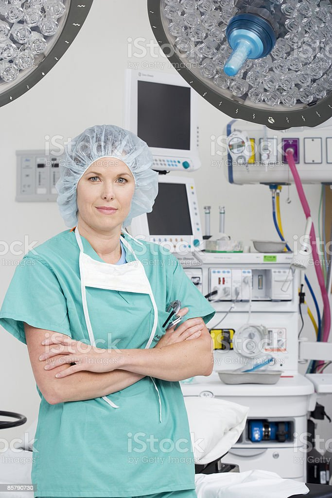 Female Doctor Portrait in Operating Room  royalty-free stock photo