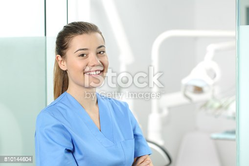istock Female doctor posing in a dentist office 810144604