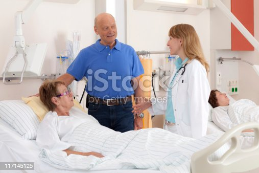 doctor in discussion with husband of female patient in sick roomhttp://www.amriphoto.com/istock/lightboxes/themes/hospital.jpg