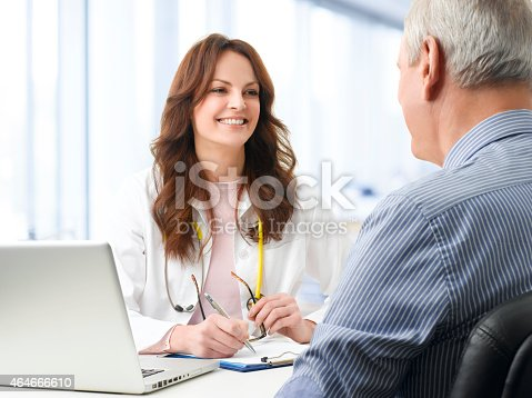 istock Female doctor with her patient 464666610