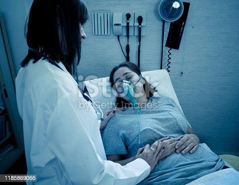 871683804istockphoto Female doctor with young sick woman patient with Oxygen Mask looking in pain and worried in hospital. In Health care, Smoking and respiratory diseases and anti tobacco advertising campaign. 1185869055