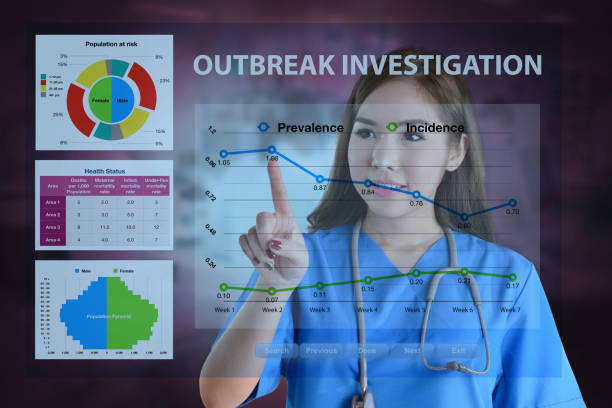 female doctor working on data analysis for outbreak investigation. - epidemiologia foto e immagini stock