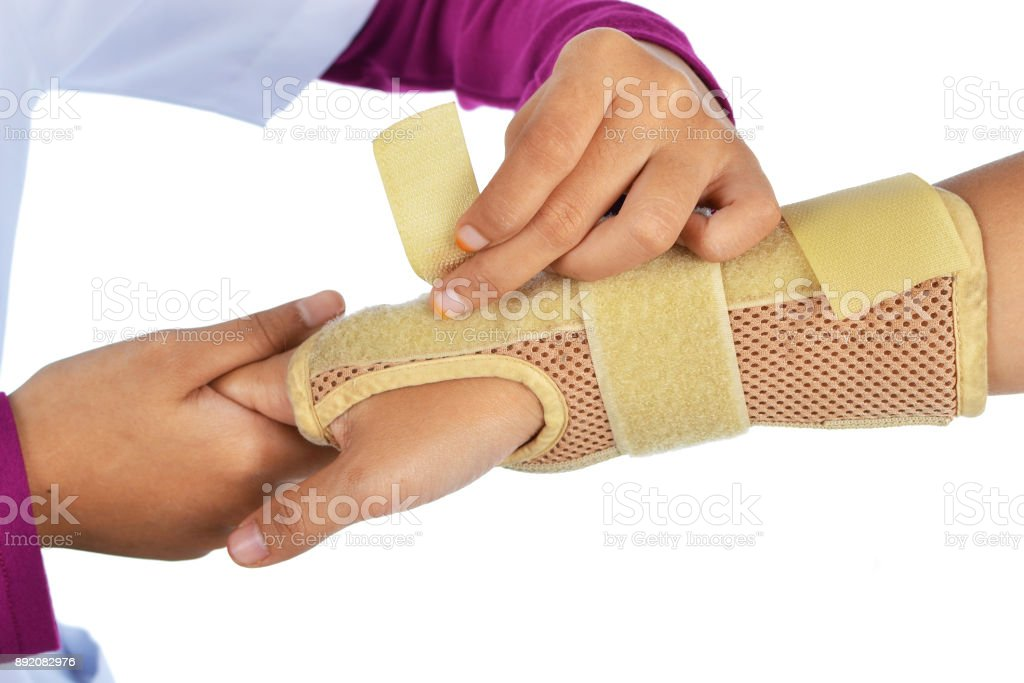 female doctor wrapped the patient's hands stock photo