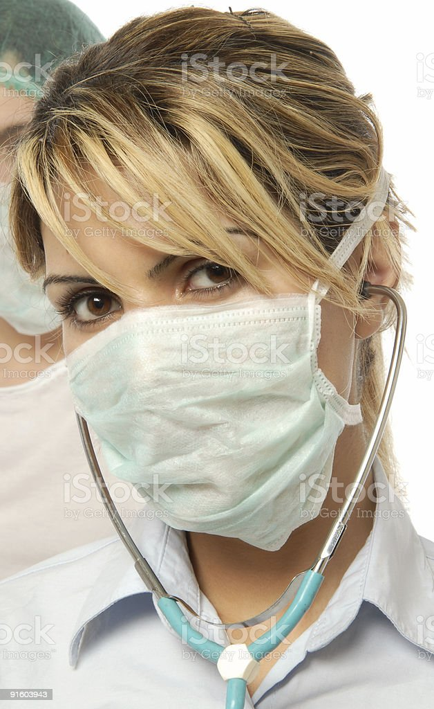 Female doctors wearing a mask royalty-free stock photo