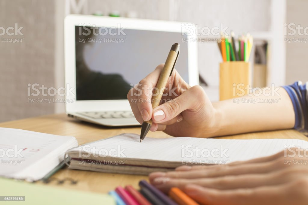 Female doing paperwork royalty-free stock photo