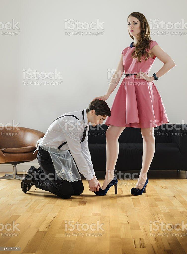 Female Dominating Her Husband stock photo