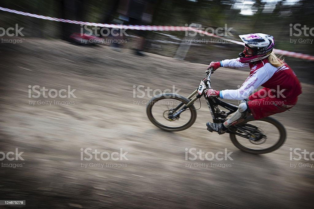 Female Downhill Mountain Bike royalty-free stock photo