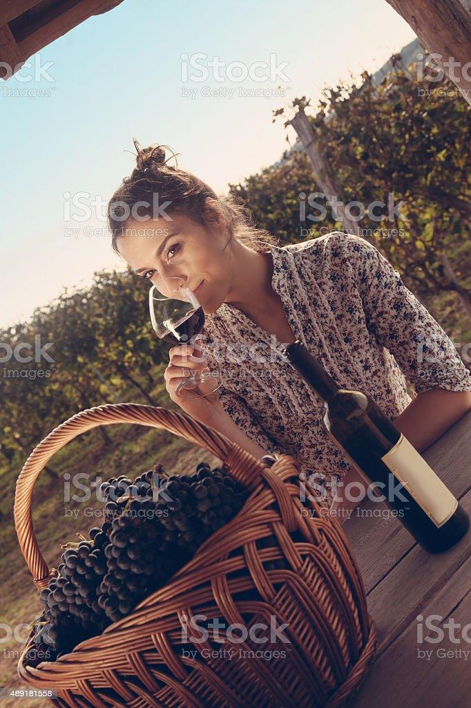 Female Drinking Wine stock photo