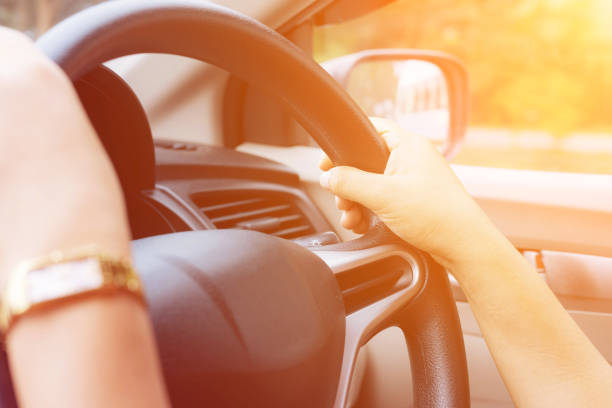 Female driving car and color tone effect – Foto