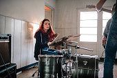 Female Drummer On Rehearsal