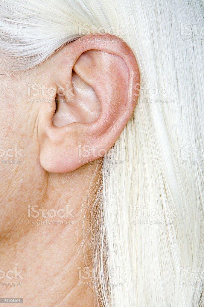 Female ear stock photo