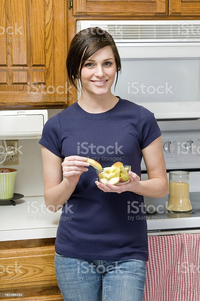 Female eating apples royalty-free stock photo