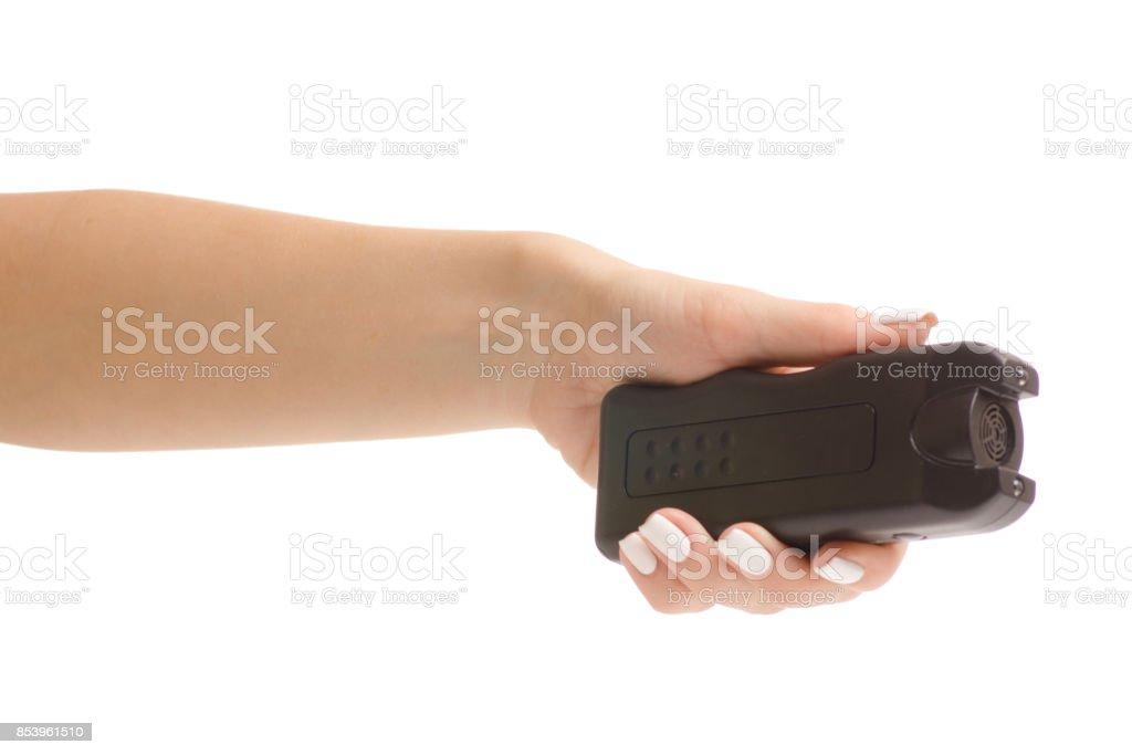 Female electroshock protection stock photo