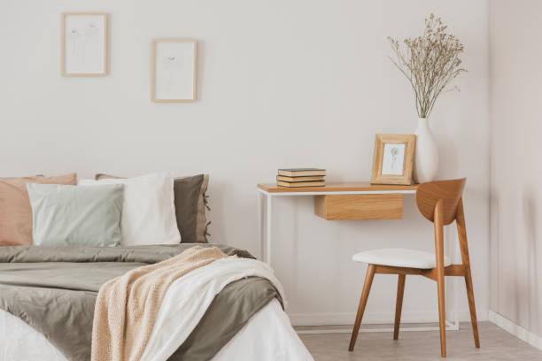 Female elegant bedroom interior in scandinavian style stock photo