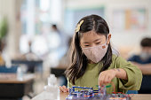 istock Female elementary school student sitting at her desk wearing a mask 1279364054