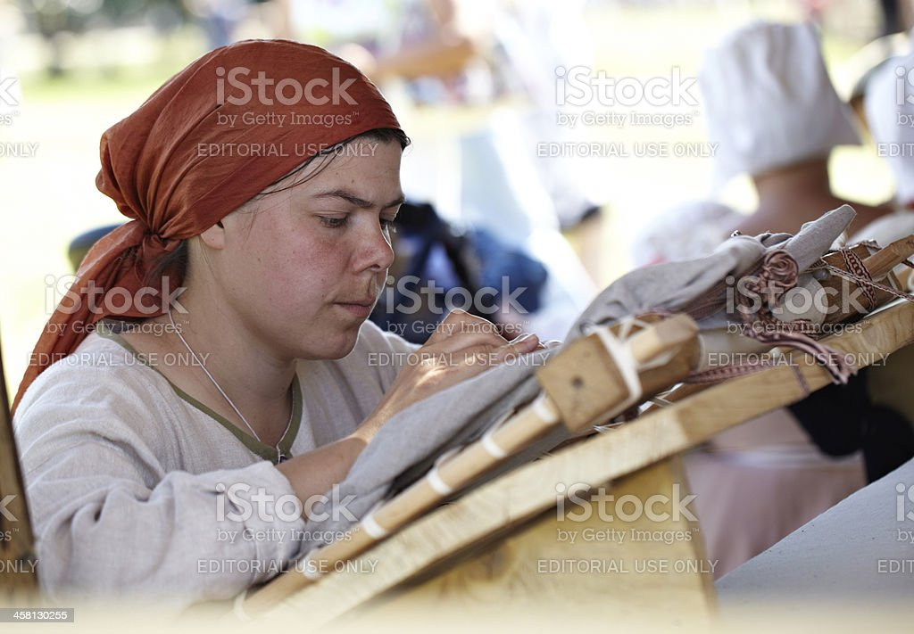 Female embroiders royalty-free stock photo