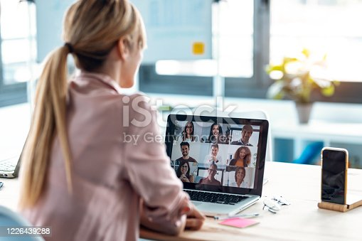 Back view of female employee speaking on video call with diverse colleagues on online briefing with laptop at home.