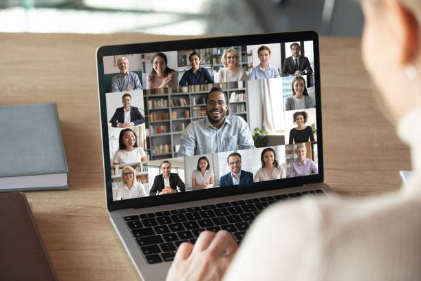 Female employee talk on video call with colleagues stock photo