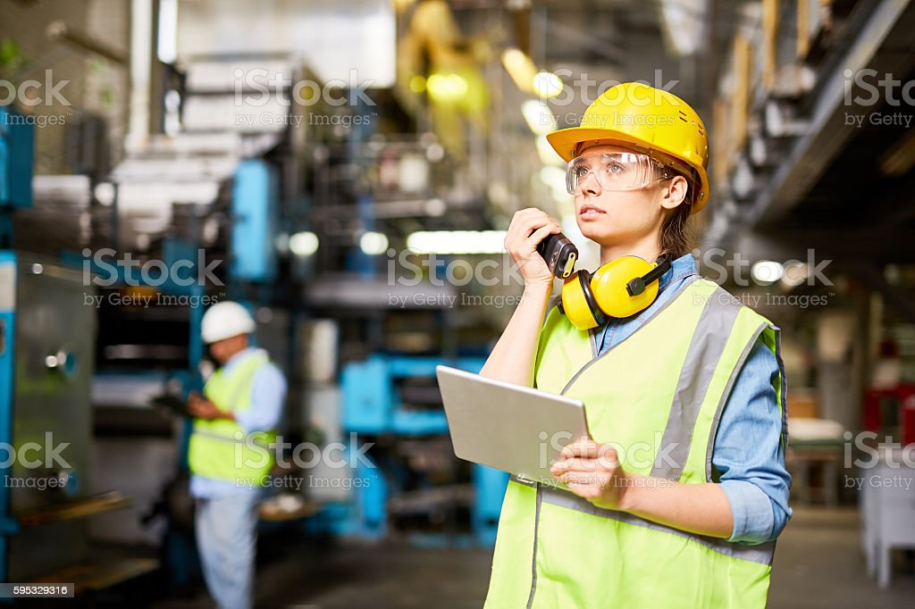 Female engineer at work stock photo