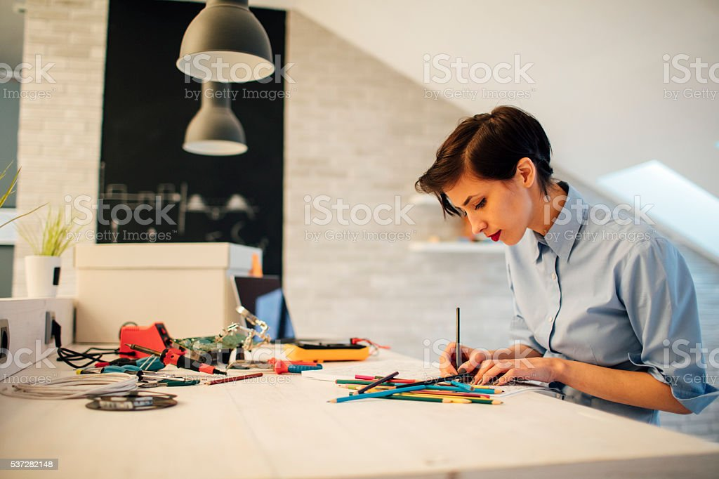 Female Engineer Coloring Book stock photo