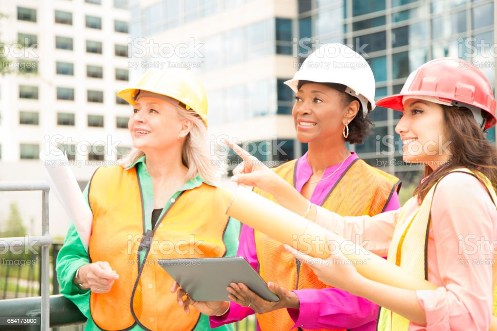 STEM Female engineer or architect team working on a construction project in city. foto stock royalty-free