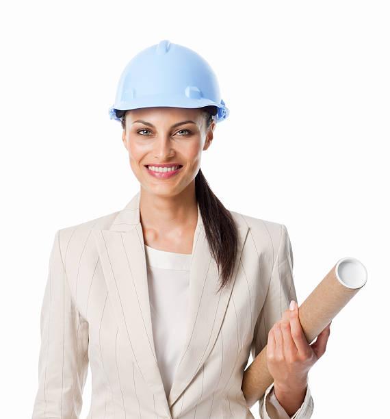 Weibliche Ingenieur mit Blaupause-isoliert – Foto