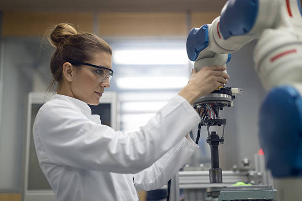 Female engineer working stock photo
