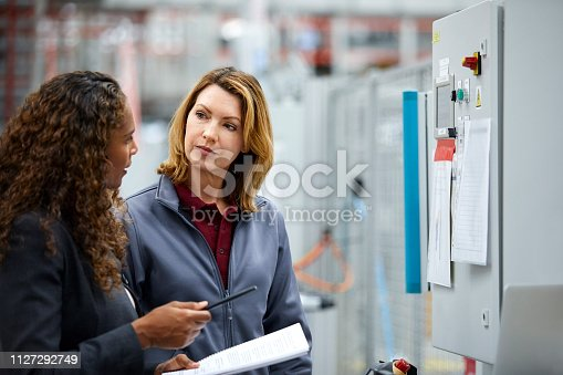 istock Female engineers discussing at car plant 1127292749