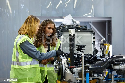 941796726istockphoto Female engineers discussing over car chassis 1076609026