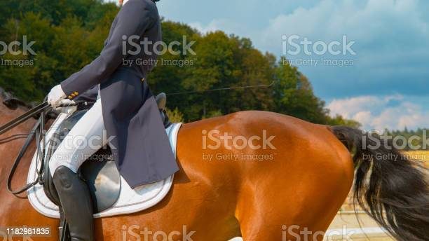 Photo of CLOSE UP: Female English rider in a blue frock gallops on manege on horseback.