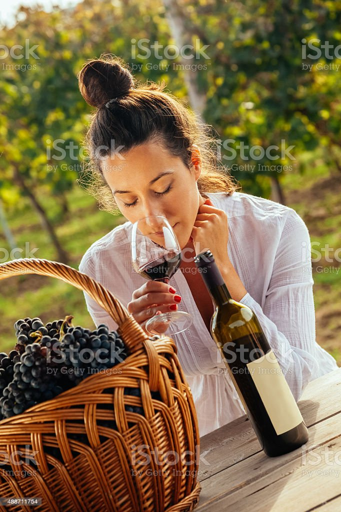 Female Enjoying In Vineyard stock photo