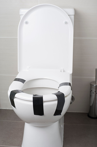 Fantastic Female Equality Concept Toilet Seat Taped Down Stock Photo Pabps2019 Chair Design Images Pabps2019Com