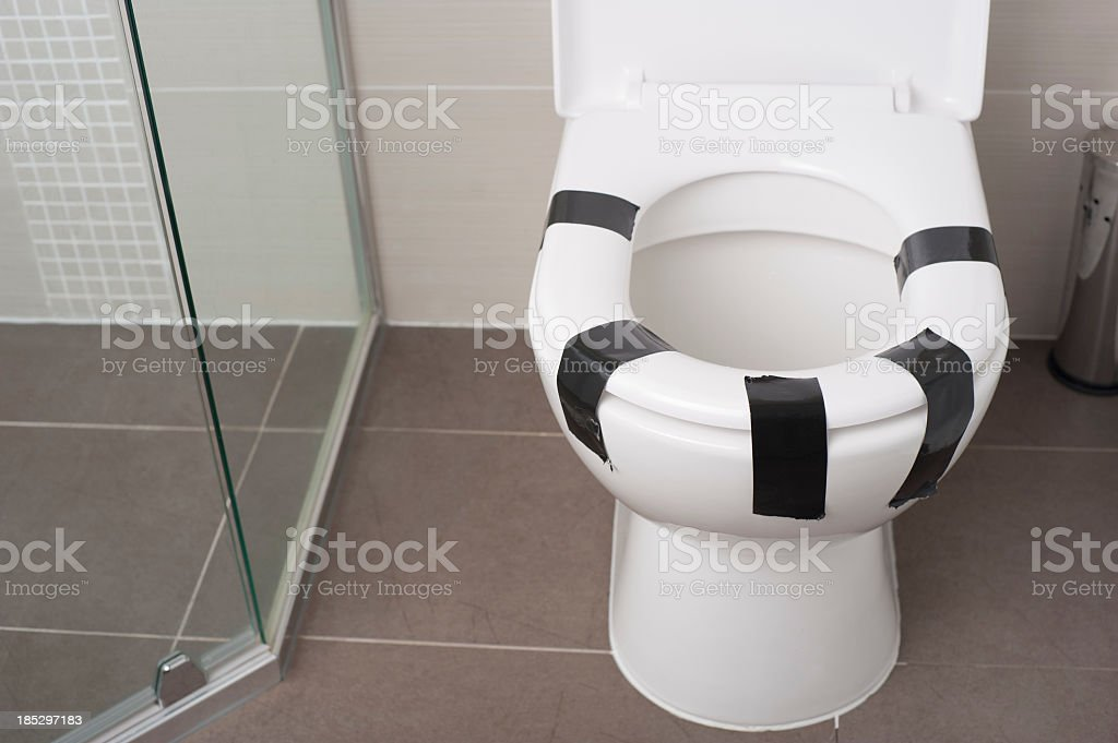 Tremendous Female Equality Concept Toilet Seat Taped Down Stock Photo Pabps2019 Chair Design Images Pabps2019Com