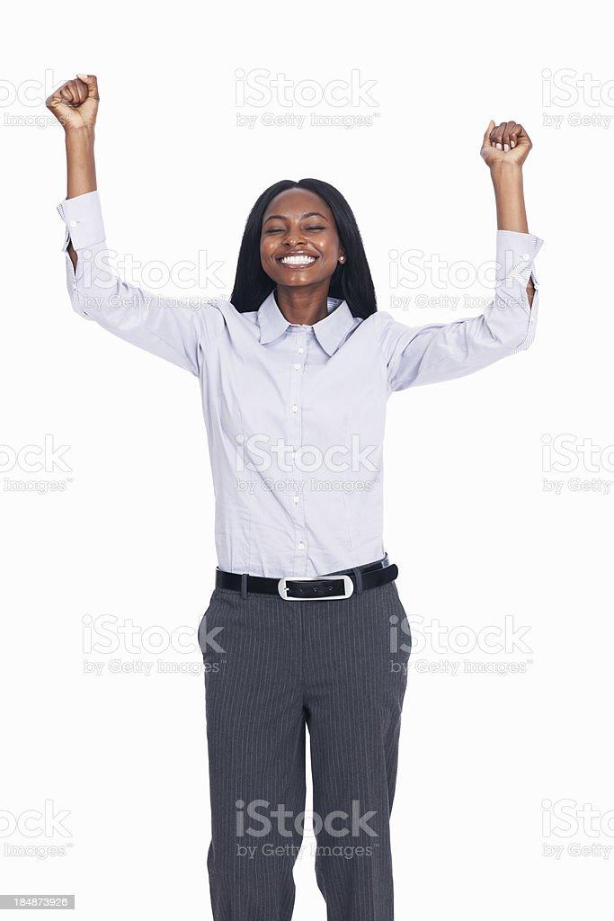 Weibliche executive feiert Erfolg – Foto