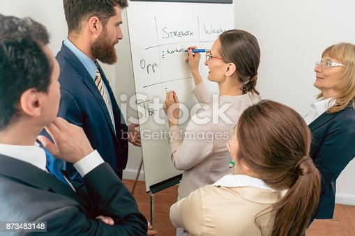 istock Female executive director writing on a paper board the positive attributes of a new business project 873483148