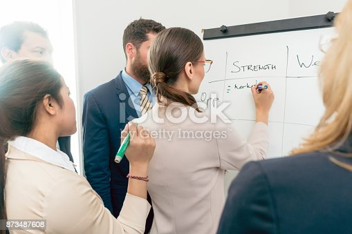 istock Female executive director writing on a paper board the positive attributes of a new business project 873487608