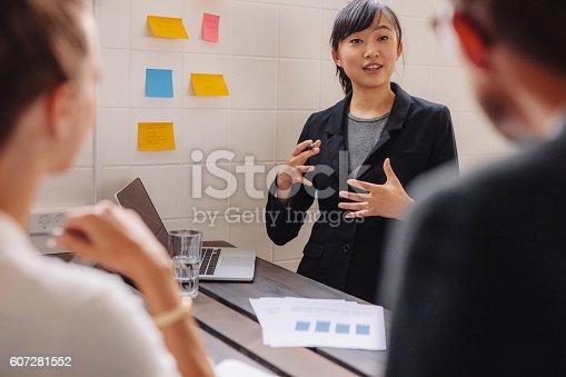 812513444istockphoto Female executive explaining new business idea to colleagues. 607281552