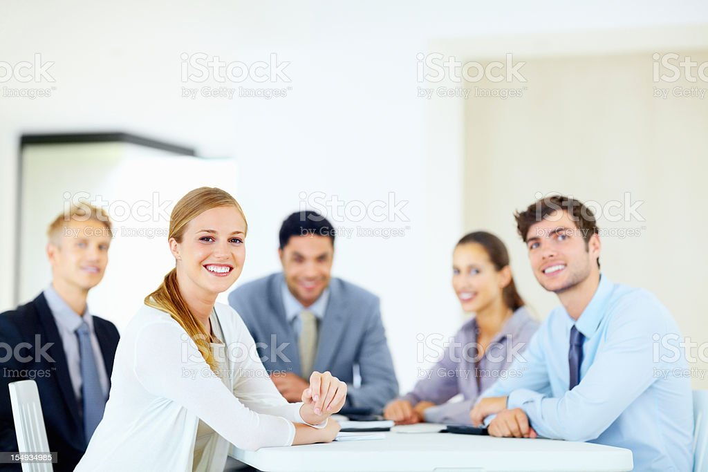 Female executive in a meeting royalty-free stock photo