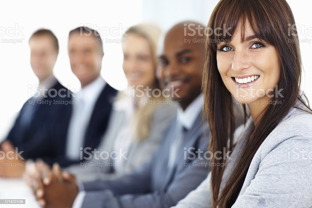 Female executive leading her team royalty-free stock photo