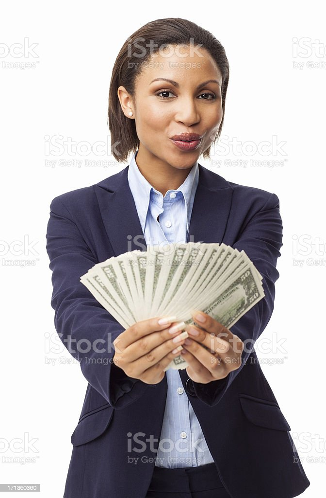 Female Executive Showing Fanned Out Banknotes - Isolated stock photo