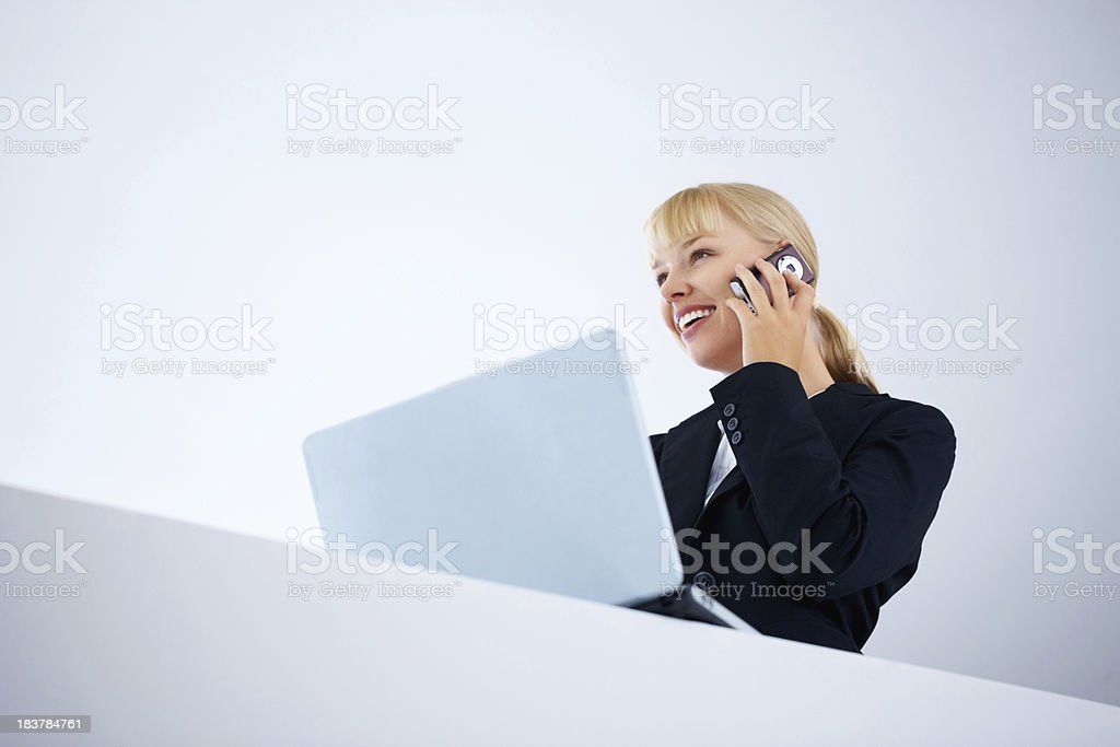 Female executive with a laptop and talking on the cellphone royalty-free stock photo