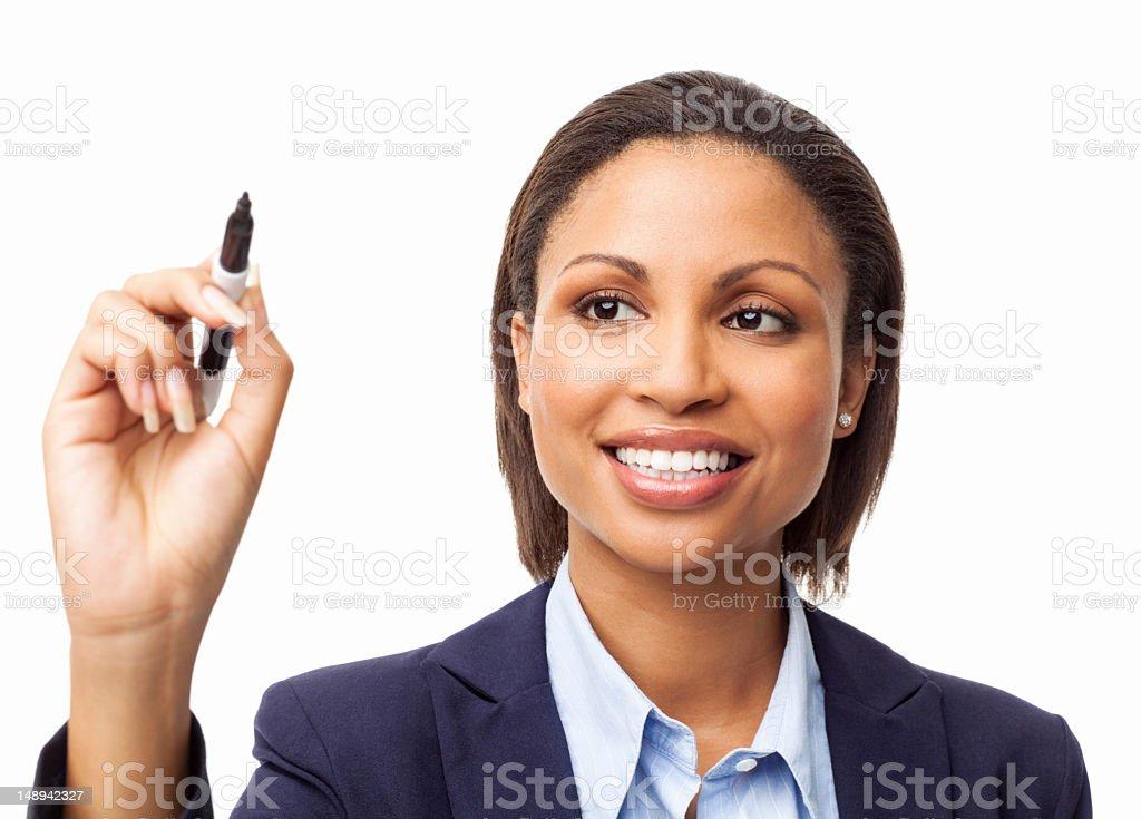 Female Executive Writing On Transparent Wipe Board - Isolated stock photo