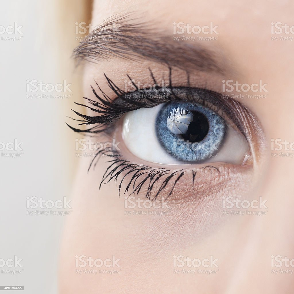 Female eye macro shot stock photo