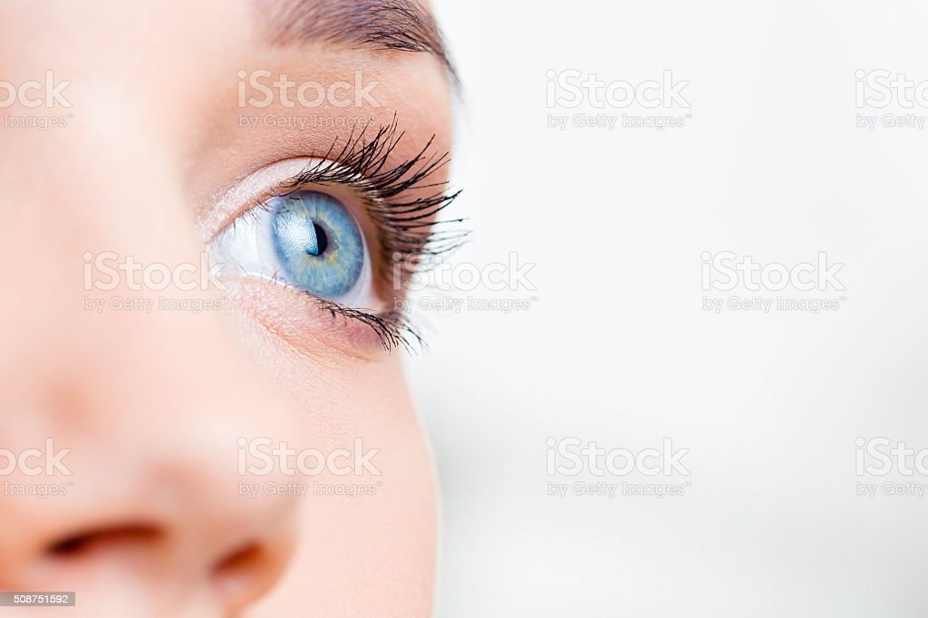 Female eye macro shot stock photo