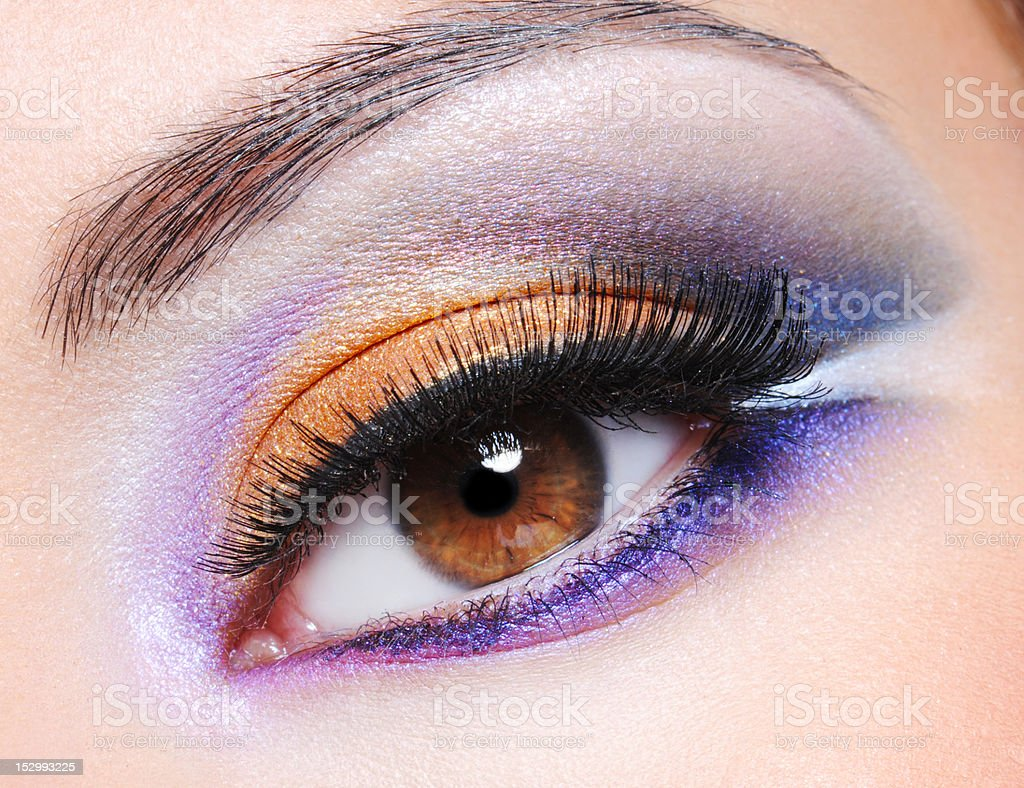 Female eye with fashion saturated make-up royalty-free stock photo
